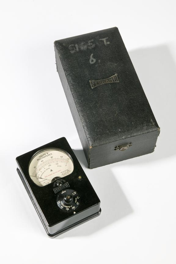 Ferranti Ltd model V1414 electric meter, 1945Photographed on a white background.