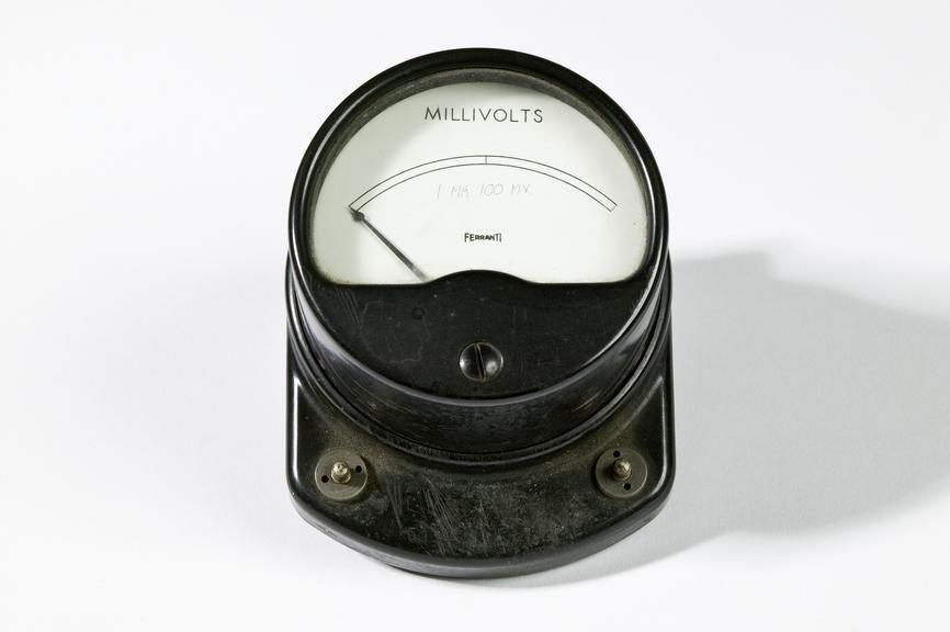 Ferranti Ltd millivolt meterPhotographed on a white background.