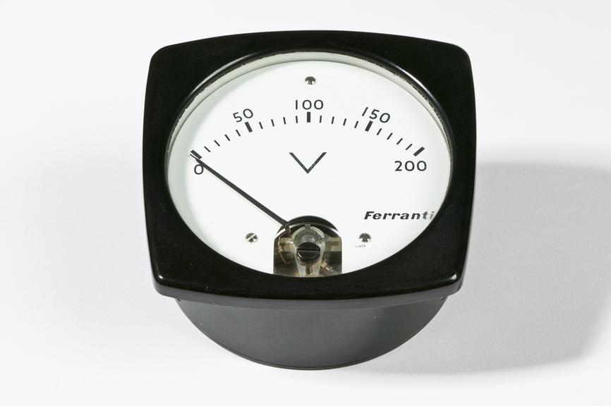 Ferranti Ltd model L1609 volt meter,  0-200VPhotographed on a white background.