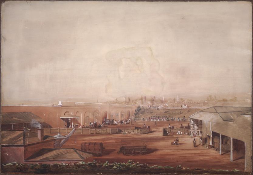 Watercolour of Paddington Station in 1838