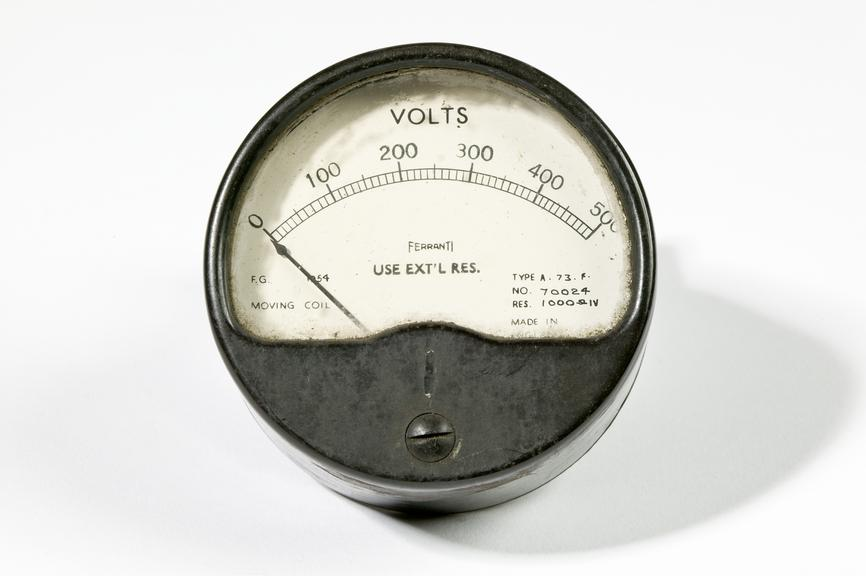 Ferranti voltmeter.Photographed on a white background.