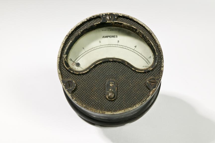 Ferranti Ltd ammeter.Photographed on a white background.