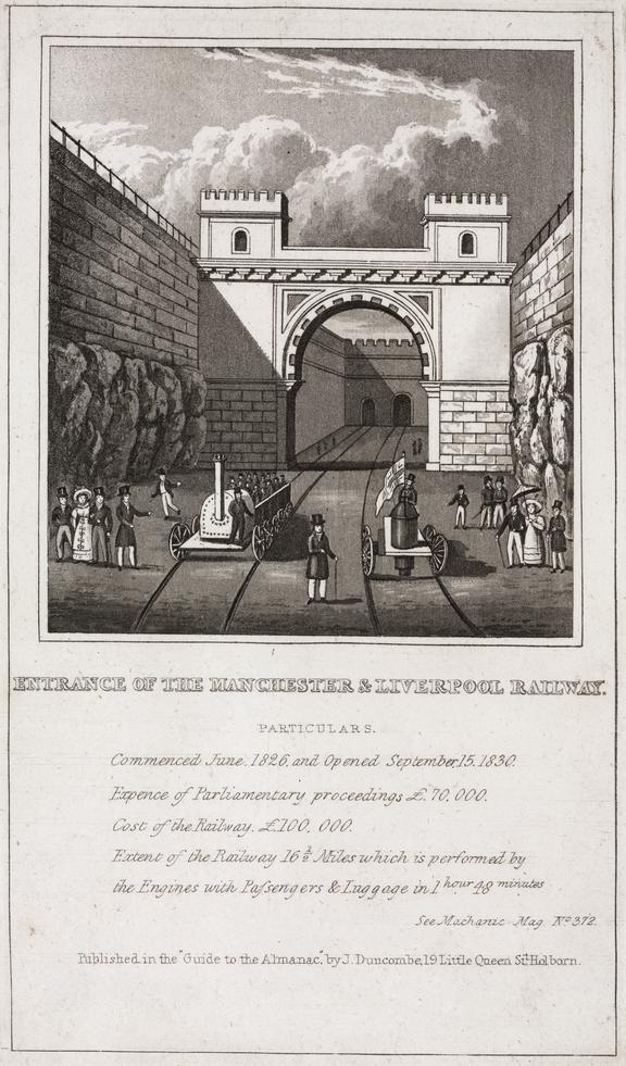 """""""Entrance to Liverpool and Manchester Railway"""". print. lithograph. Published by J. Duncombe. 3 3/4""""x4"""""""