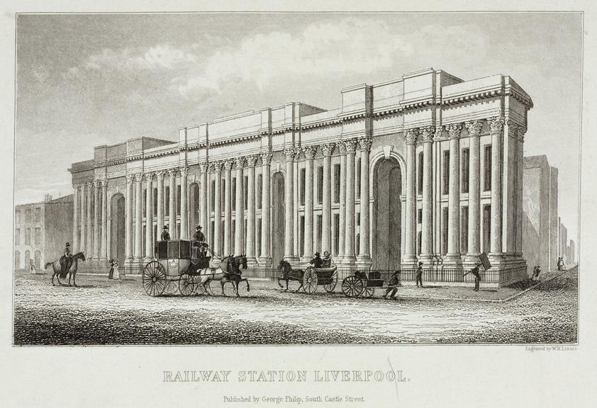 """Engraving by W. Lizars. """"Railway Station Liverpool"""". Pubd. by George Phillip, South Castle St., 1836. Mounted. (Heading"""