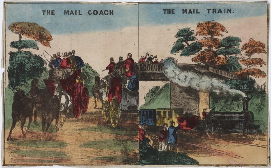 "two views: 'The Mail Coach', 'The Mail Train', print. coloured lithograph. 11 1/4""x7"" (R354)"