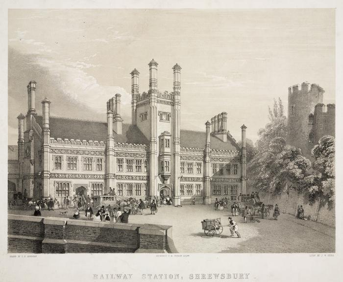 Railway Station, Shrewsbury; Shrewsbury and Birmingham Railway. Lithograph in black and stone by J.W. Giles after L.N. Henshaw (1847). Mounted.