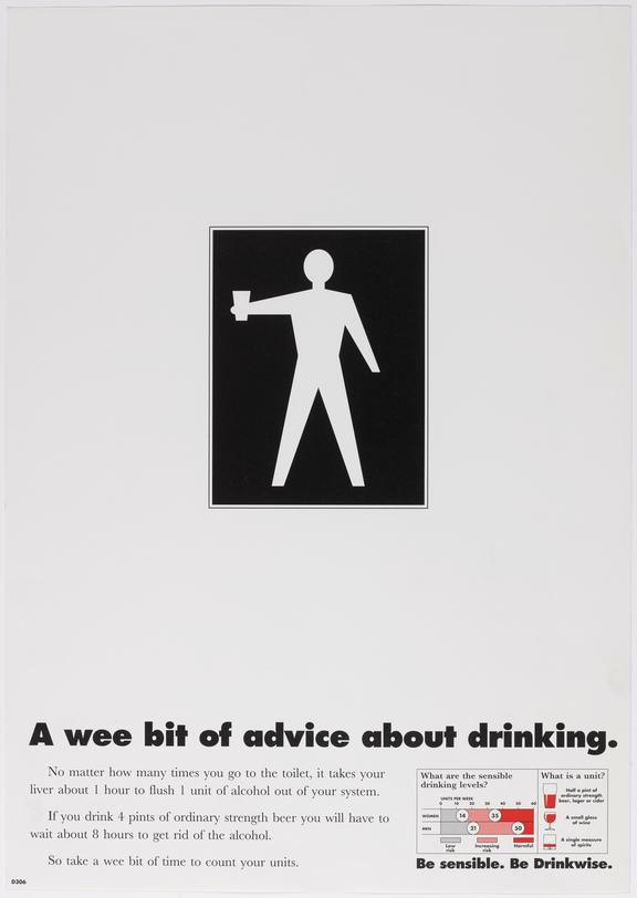 Poster (b&w) ''A wee bit of advice about drinking'   Be sensible Be Drinkwise.  Illustration of lavatory door type