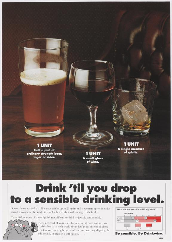 Poster (colour) 'Drink 'til you drop to a sensible drinking level'.  Be sensible Be Drinkwise.  Photo of 1/2 pint of