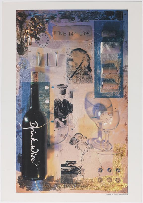 Poster (colour) 'Drinkwise June 14th 1994'  advertising National Drinkwise Day 1994. Art illustration 'Drinkwise' by