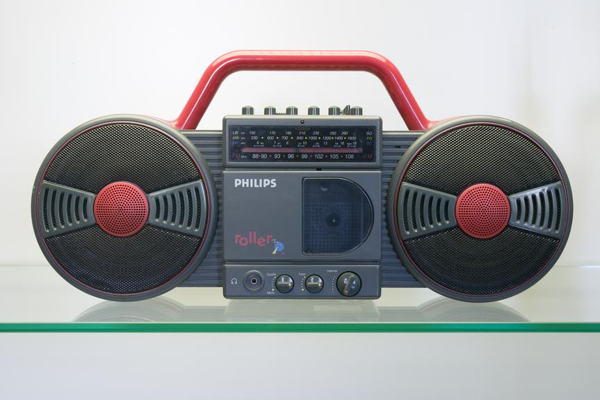 Radio cassette player made by Philips, 1988Photographed on display in the Connecting Manchester gallery.