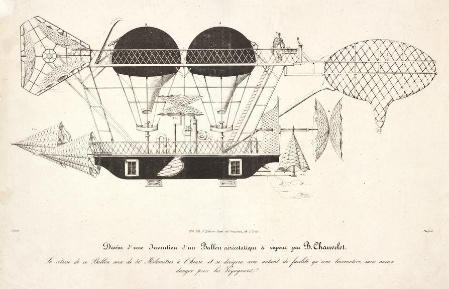 Dessin d'une Invention d'un Ballon aereostatique a vapeur par B Chauvelot. / 1856 Lith. J.