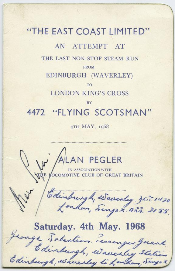 """Autographed Menu Card. """"East Coast Limited' service run on Saturday 4th May 1968 by Alan Pegler."""