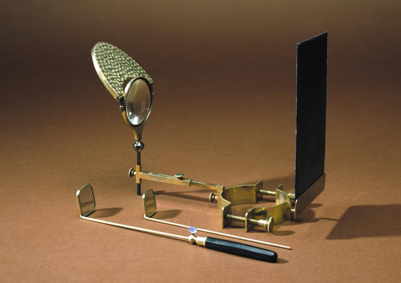 Fauvel laryngoscope with mirrors and brush, nickel-plated, in leather case, by Henry Galante of Paris, late 19th