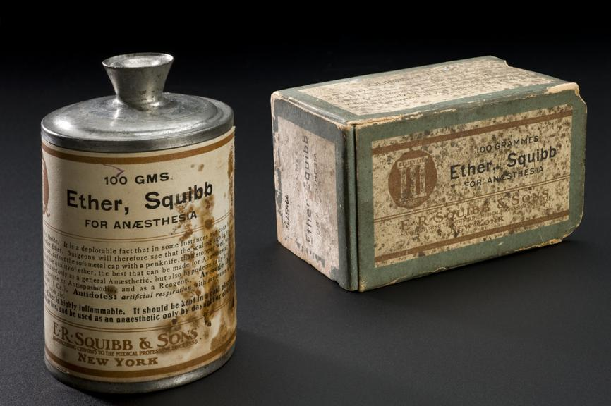 Unopened metal bottle containing ether, by E.R. Squibb and Sons, New York, USA, 1891-1930. Full view, bottle alongside