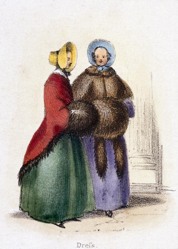 'Dress', c 1845. Detail from print. coloured lithograph. 'The Bear' / by Benjamin Waterhouse Hawkins, [c1850], Plate V