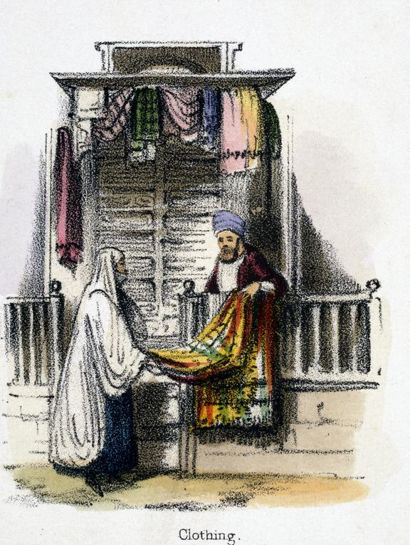 'Clothing', 1845. Detail from print. coloured lithograph. 'The Camel and Dromedary' / by Benjamin Waterhouse Hawkins,