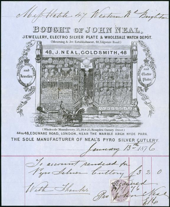Receipt from John Neal, 13th January 1876