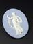 One of two Wedgwood blue jasper medallions with raised decoration in white. Both from a series of trial pieces made by