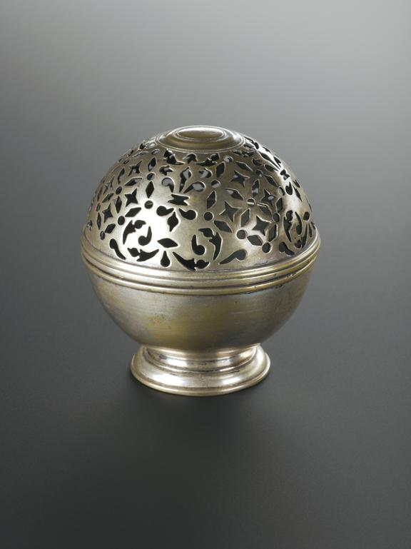 Metal container, possibly a soap box or incense burner, spherical body hinged, with splayed base, possibly 18th