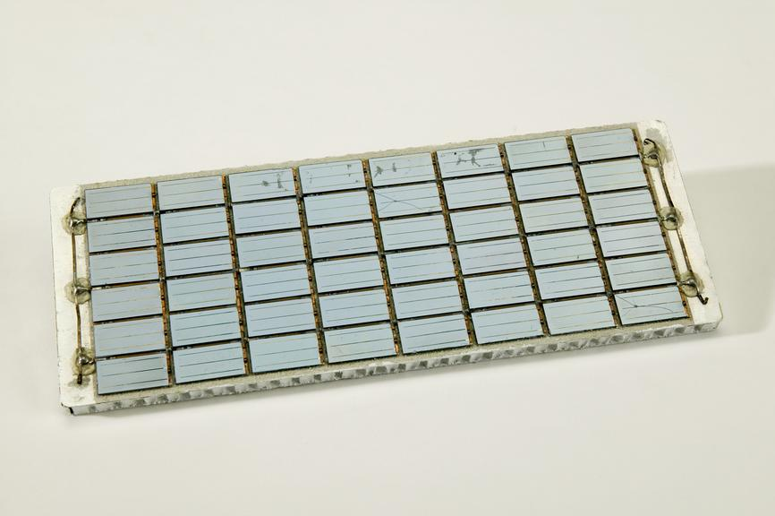 Solar panel made by Ferranti Ltd, Oldham.Photographed on a white background.