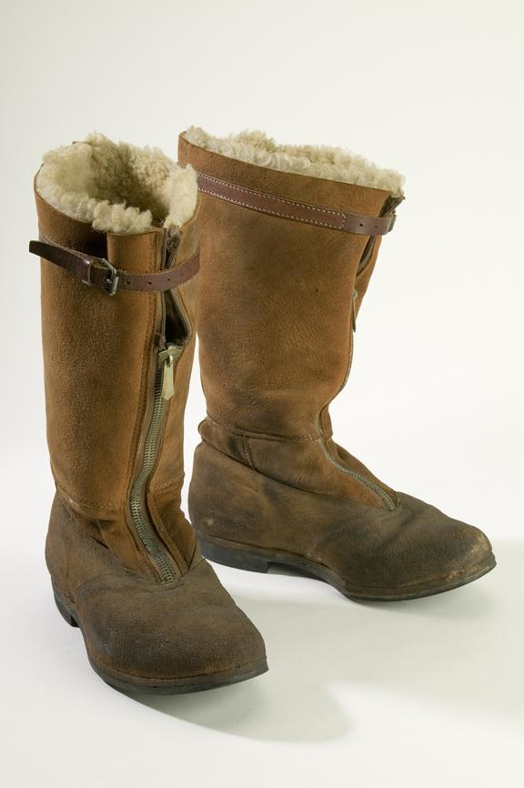 Sheepskin lined Pathfinder flying boots with Phillips Durata sole made by D. Lewis Ltd c.1932Photographed on a white