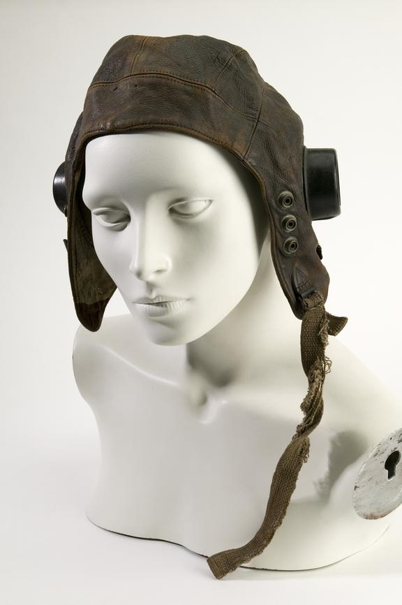 RAF issue flying helmet.Photographed on a white background.