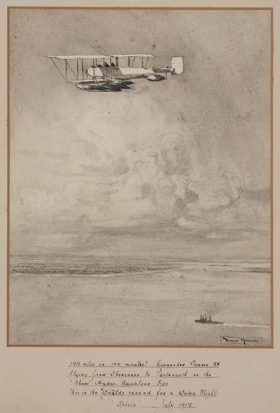 'Short Hydro-Aeroplane flying from Sheerness to Portsmouth, July 1912' / by Donald Maxwell