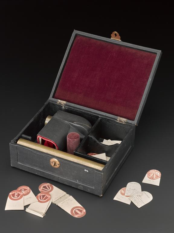 Phantom larynx, with accessories, cased, 1870-1916.              Illustrations of a healthy or a diseased larynx can be inserted