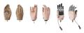 Timeline of artificial hand prostheses. Left: c.1900, middle: 1918, right: c.1948.
