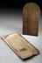 """1 Barometer copper plate  """"James Watt, Glasgow"""" . Front view showing the plate and envelope. Grey graduated background."""