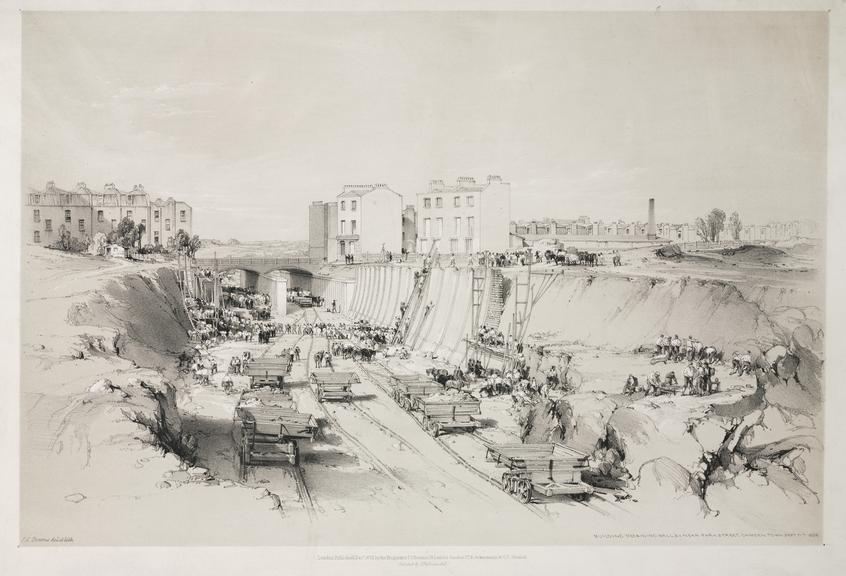 print: lithograph (buff and black): 'Building retaining wall near Park Street' / by John Cooke Bourne,  1839, Plate VI