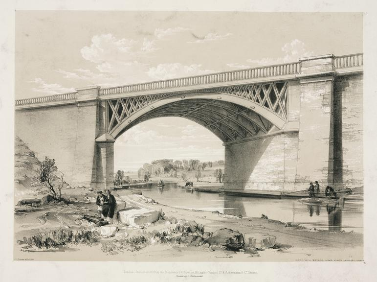 print: lithograph (buff and black): 'Nash Mill bridge' [over Grand Junction Canal] / by John Cooke Bourne, 1839, Plate