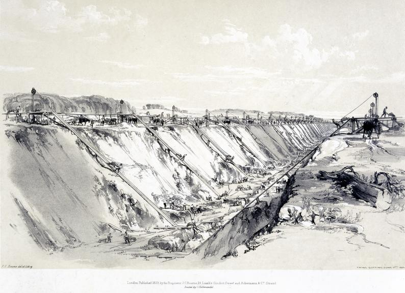 print: Lithograph (buff and black): 'Tring Cutting. June 17th 1837' / by John Cooke Bourne del et lithog, 1839, Plate