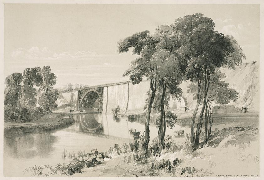 """print: lithograph (buff and black): 'Canal Bridge Pitstone' / by John Cooke Bourne, 1839, Plate XX from """"Drawings of"""