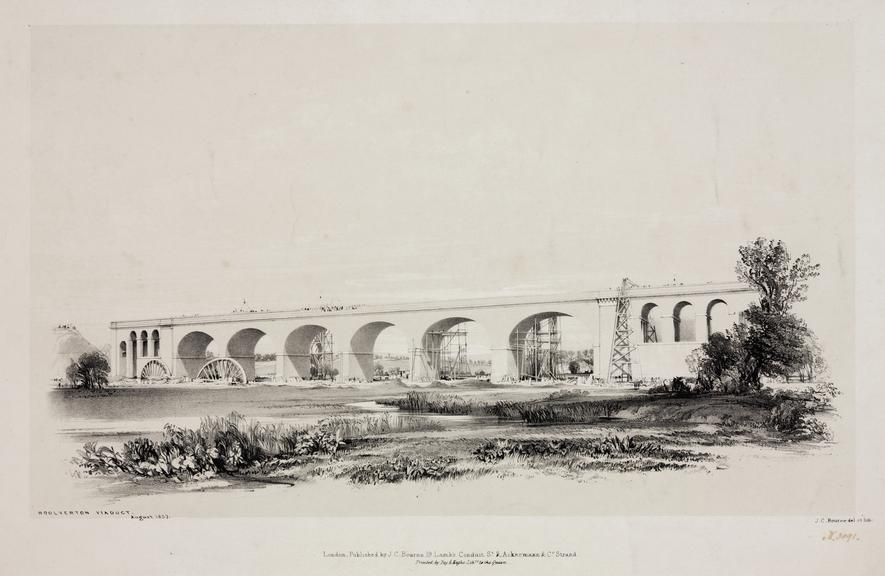"""print: lithograph (buff and black): 'Woolverton viaduct' /  by John Cooke Bourne, 1839, Plate XXIV from """"Drawings of"""