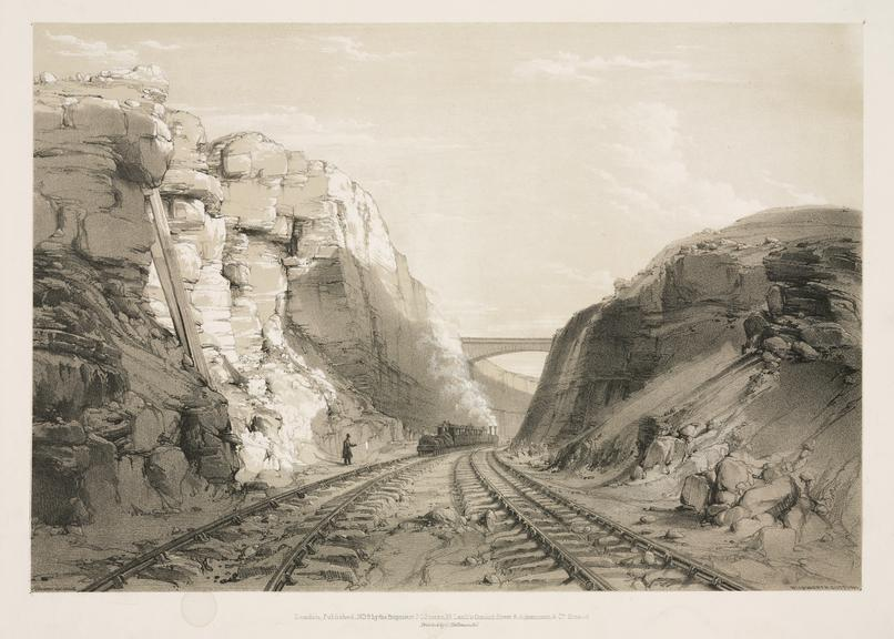 print: lithograph (buff and black):  'Blisworth cutting [showing train]' / by John Cooke Bourne, 1839, Plate XXV from