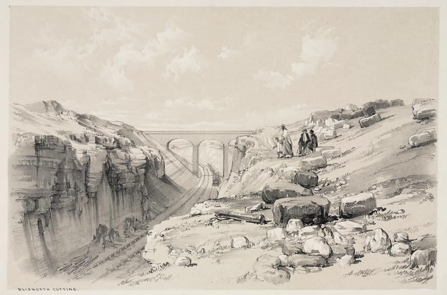 print: lithograph (buff and black): 'Blisworth cutting' [overview] / by John Cooke Bourne, 1839, Plate XXVI from