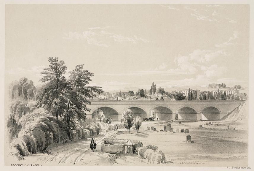 """print: lithograph (buff and black): 'Weedon viaduct' / by John Cooke Bourne, 1839, Plate XXVII from """"Drawings of the"""