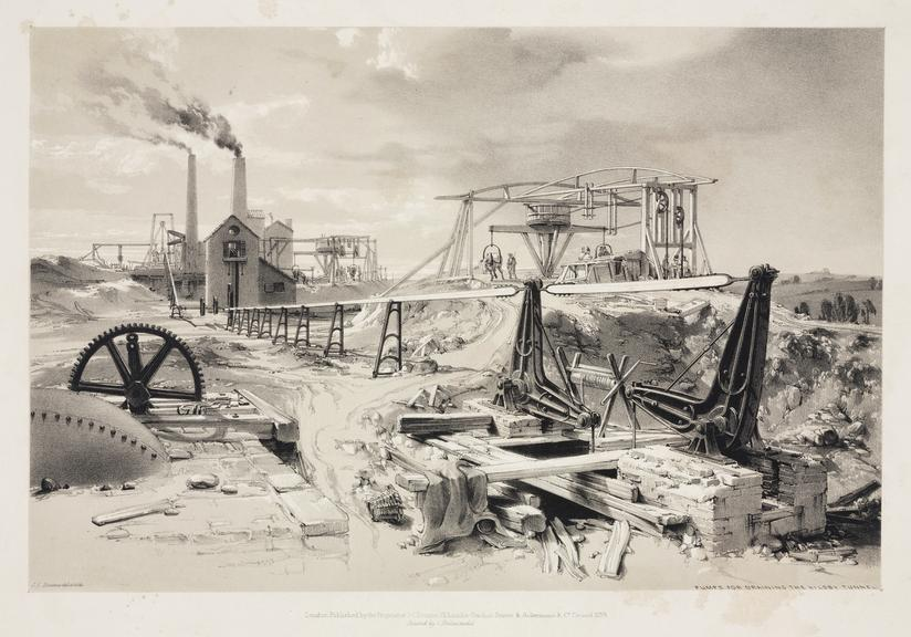 print: lithograph (buff and black): 'Pumps for draining the Kilsby Tunnel' / by John Cooke Bourne, 1839, Plate XXIX