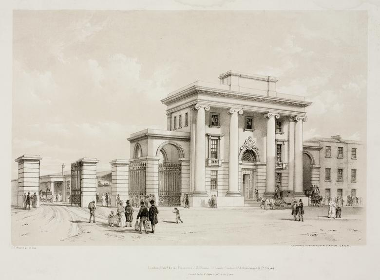 print: lithograph (buff and black): 'Entrance to Birmingham Station' / by John Cooke Bourne, 1839, Plate XXXVII from