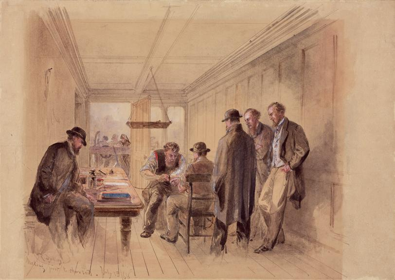 'Making joint to Shore End'. Watercolour drawing, Robert Dudley, painted on the 1866 Atlantic Telegraph Cable-laying