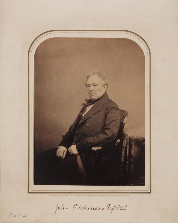 John Dickinson. Studio portrait albumen print. John Dickinson, papermaker / Maull and Polyblank, 55 Gracechurch