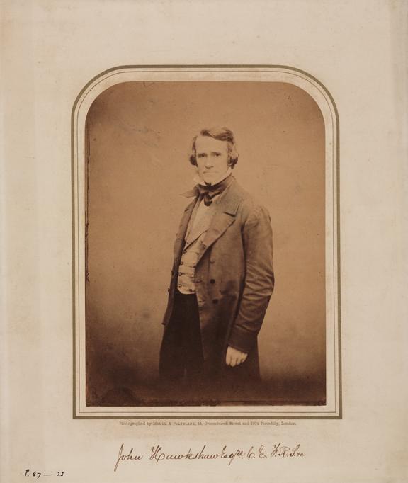 John Hawkshaw. Studio portrait albumen print./ Maull and Polyblank, London, [186-], gilt border on card mount,