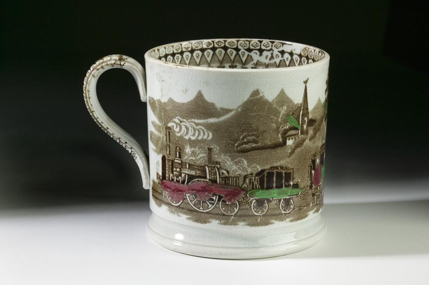 Commemorative mug, 1836.Photographed on a graduated background.