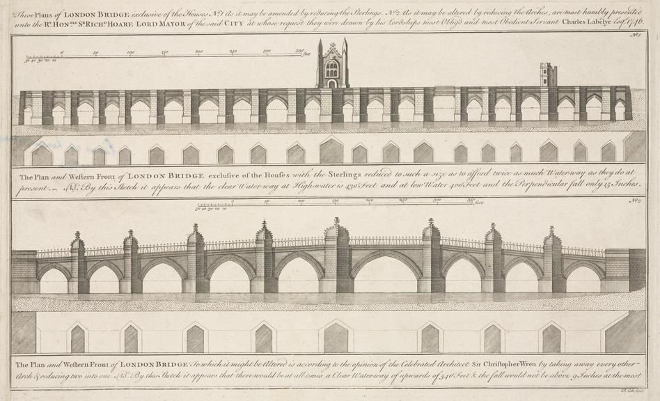 Plans of London Bridge, by Charles Labelyne 1746. Engraving: plans of London Bridge, by Charles Labelyne 1746, engraved