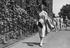 """Maureen """"Little Mo"""" Connolly from the USA, arrives at Wimledon for her match against Angela Mortimer, July 1952       This"""