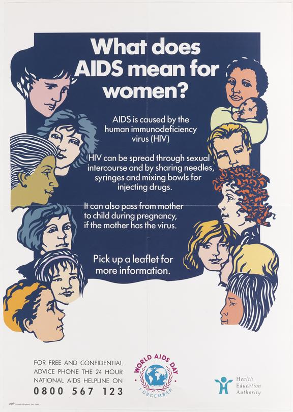 """Poster for """"What does AIDS mean for women?"""" One of Approximately 800 health education posters produced for the Central"""