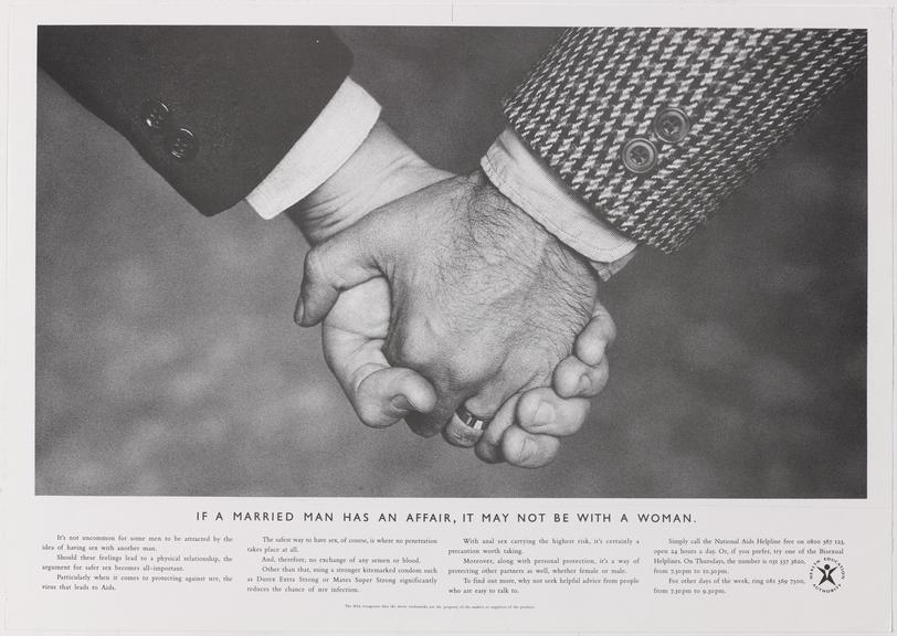 """Poster for """"If a married man has an affair, it may not be with a woman"""" One of Approximately 800 health education"""