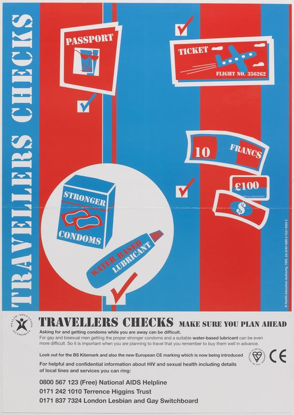 """Poster for """"Travellers checks, make sure you plan ahead"""" One of Approximately 800 health education posters produced for"""