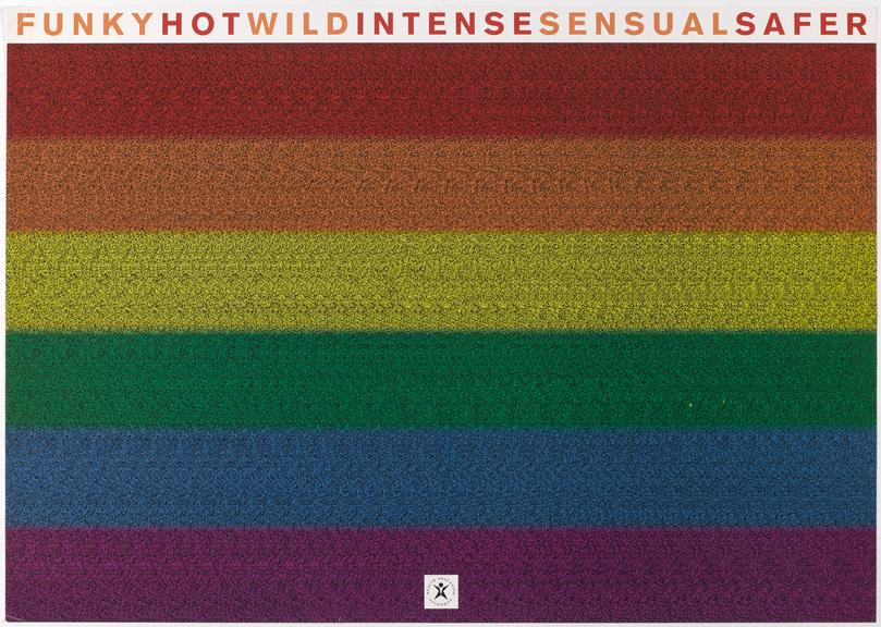 """Poster for """"Funky Hot Wild Intense Sensual Safer"""" on a rainbow coloured background, One of Approximately 800 health"""